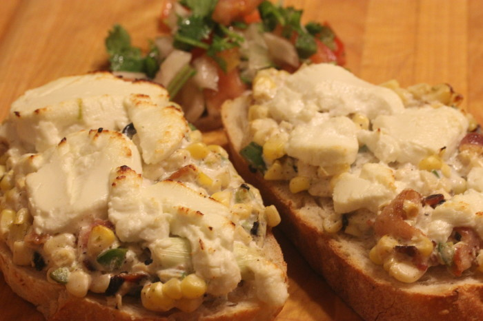 Corn, Jalapeno and Goat Cheese Tartine