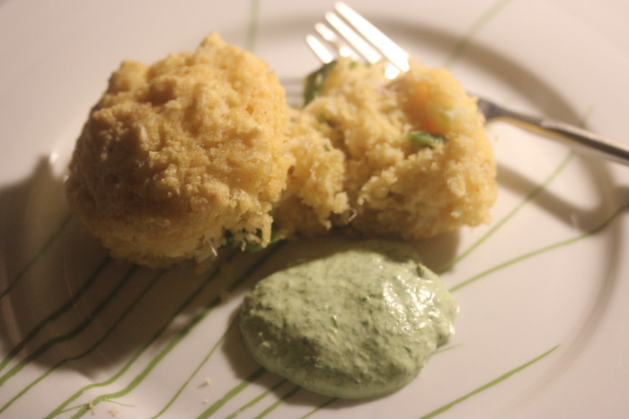 Roasted Poblano and Crab Hush Puppies with Green Goddess Dipping Sauce from The Cast Iron Skillet Cookbook