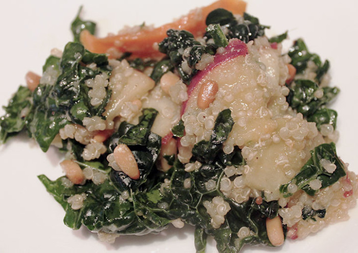 Kale and Quinoa Salad with Peaches and Pine Nuts