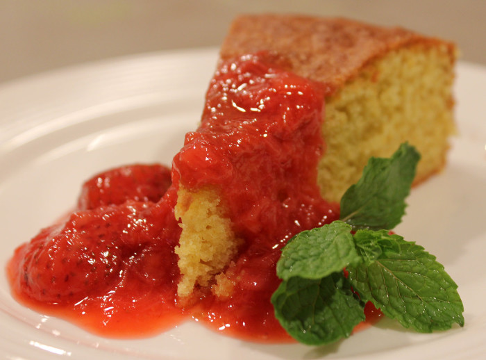 TBT Recipe: Olive Oil Cake with Strawberry Rhubarb Compote