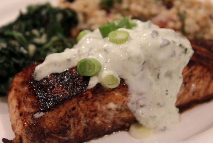 Oven Roasted Salmon with Cucumber-Sour Cream Sauce