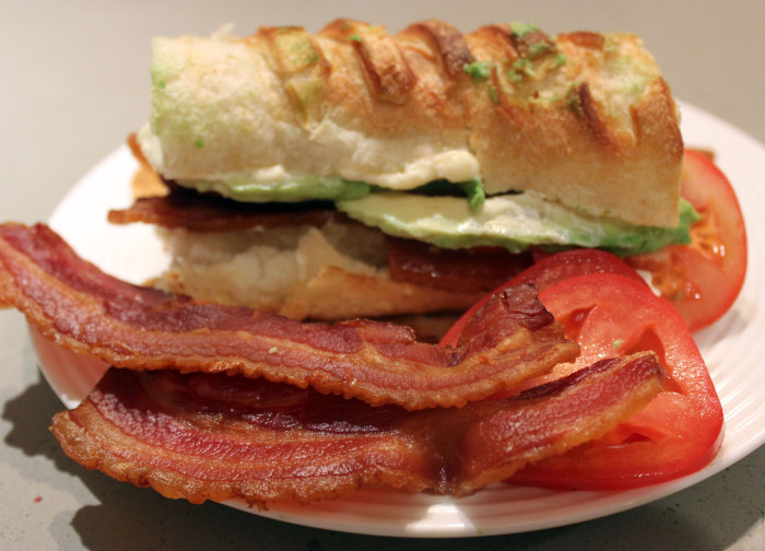 BLT with No L but Ripe A on Laminated Bread from Arcade Bakery