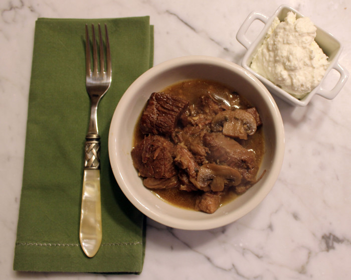 Porcini-Braised Beef with Horseradish Mascarpone