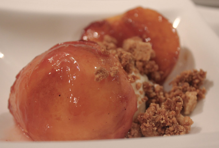 Grilled Peaches with Ice Cream and Something on Top