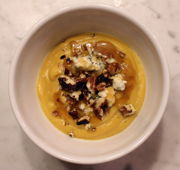 Thanksgiving Idea: Roasted Butternut Squash Soup with Blue Cheese and Walnuts