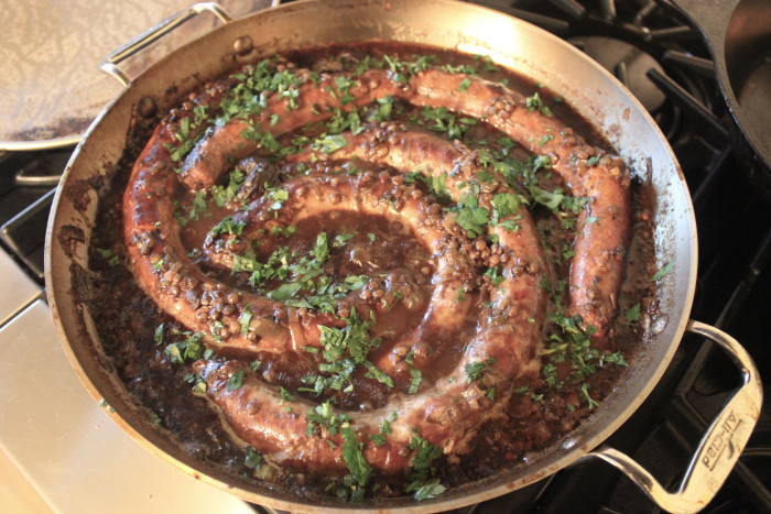 Pork Sausages with Prunes, Guinness, and Lentils from Lidgate's