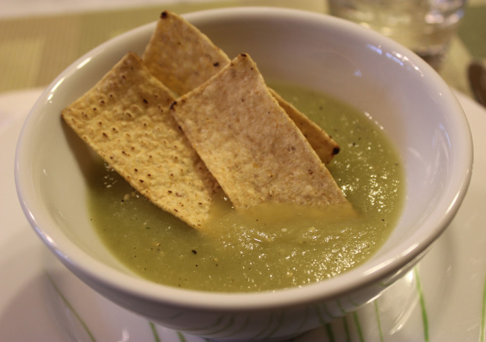 Cucumber and Tomatillo Gazpacho from Corinne Trang at Cooking by the Book