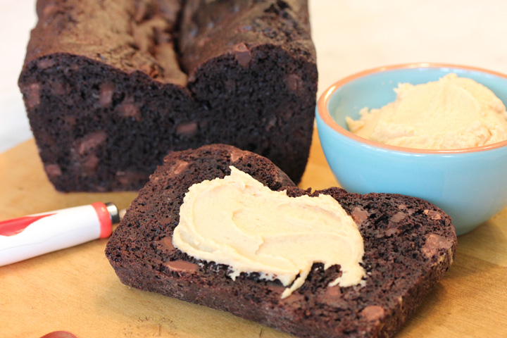 Double Chocolate Loaf with Peanut Butter Cream Cheese Spread - Cooking ...