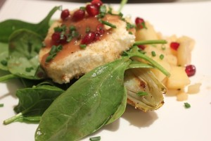 Spinach Endive Apple Salad with Pomegranate Vinaigrette with Nutty Goat Cheese Coins