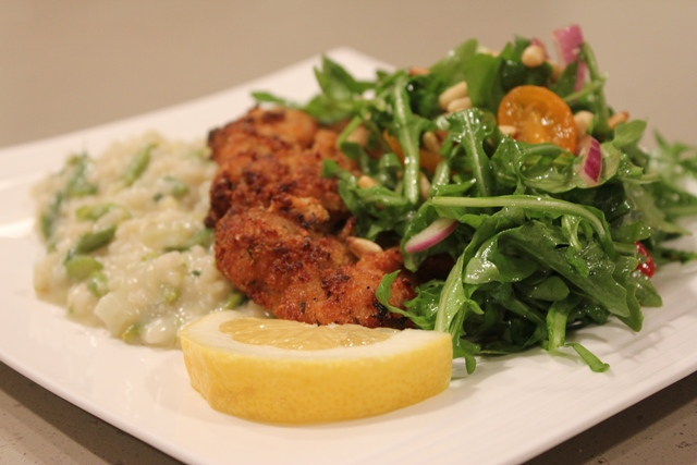 Chicken Fricassee Abruzzi-Style with Rosemary White Wine, Cherry Tomatoes and Olives Served with Lemony Orzo and Wilted Arugula Salad