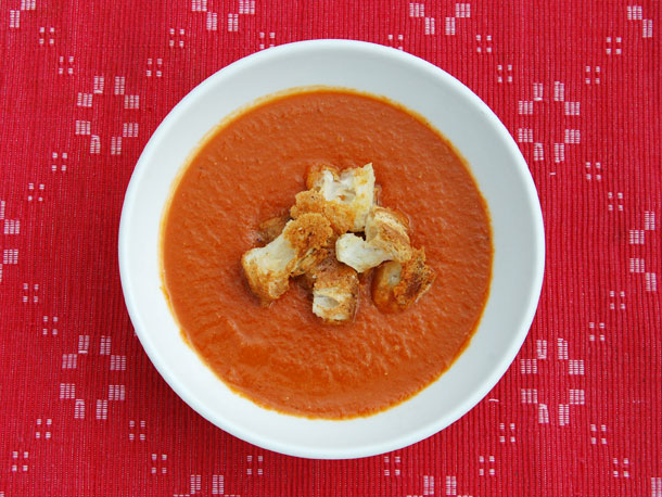Brown Sugar-Roasted Tomato Soup with Cheddar Croutons from Serious ...