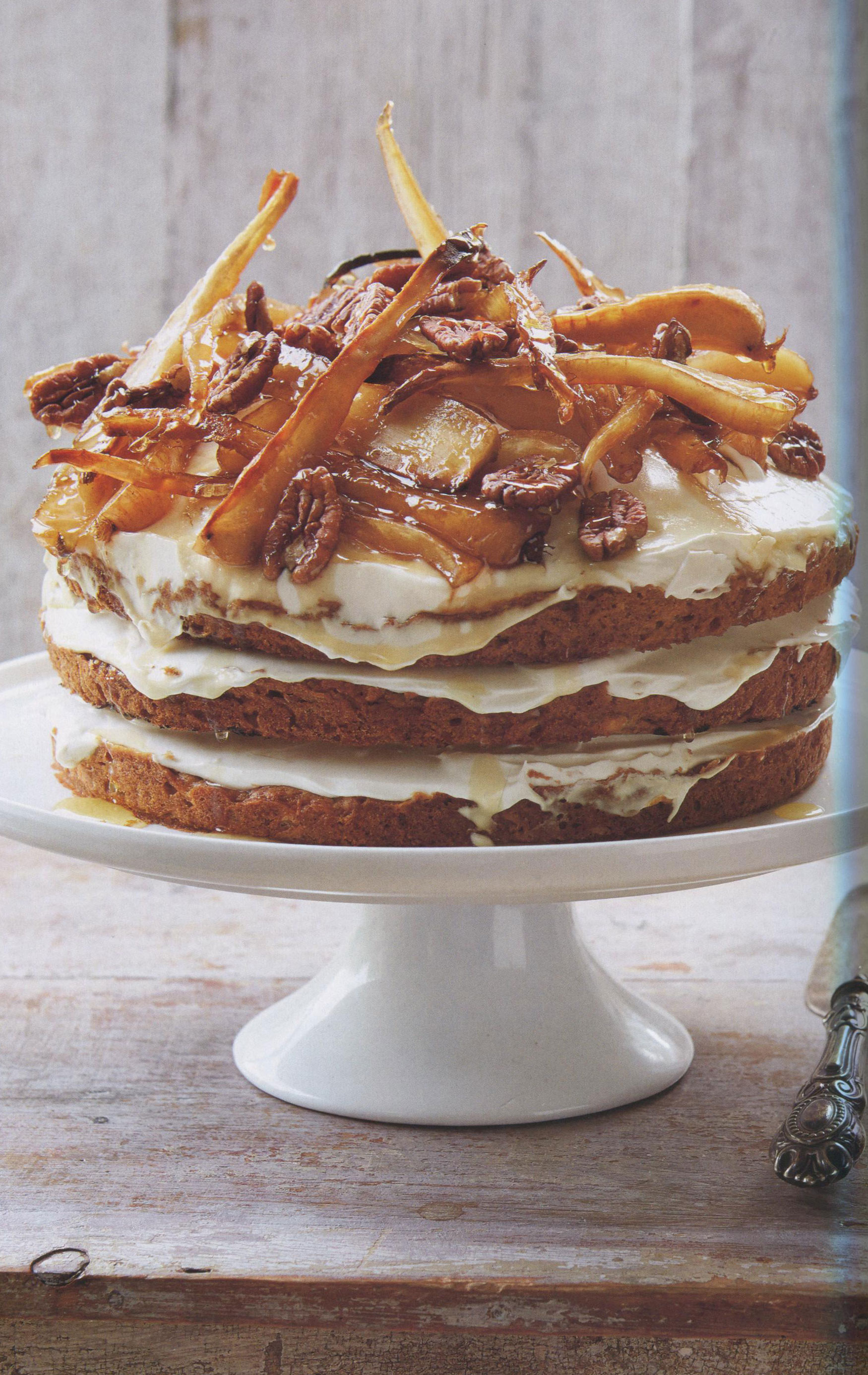 Thanksgiving Idea: Cake of Parsnip, Apple, Pecan and Maple Syrup from Big Flavors by Chris Honor