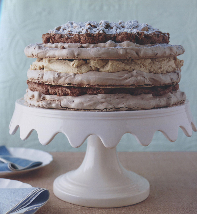 Mocha Chip Meringue Cake from Elinor Klivans | Cooking by the Book
