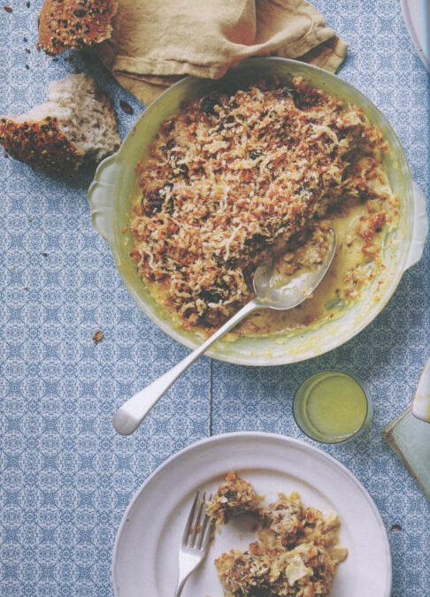 Pork and Prune Meatballs with Mushroom Gravy and Parmesan Crumble