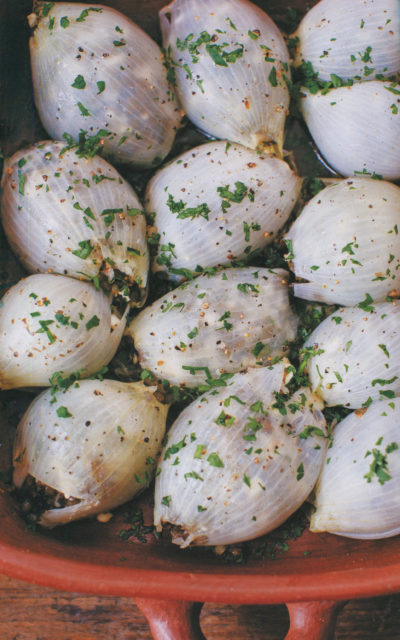 Roasted Onions Stuffed with Lentils, Feta and Prunes from Onions