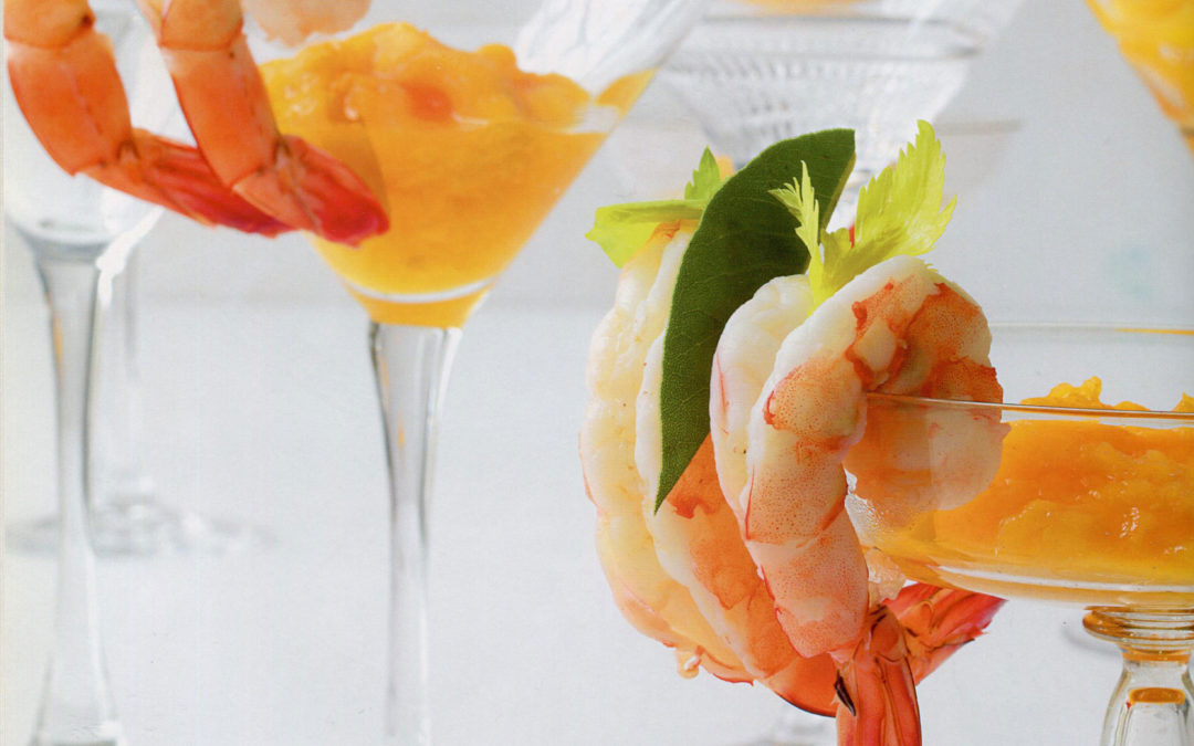Shrimp with Peach Cocktail from Jean-Georges