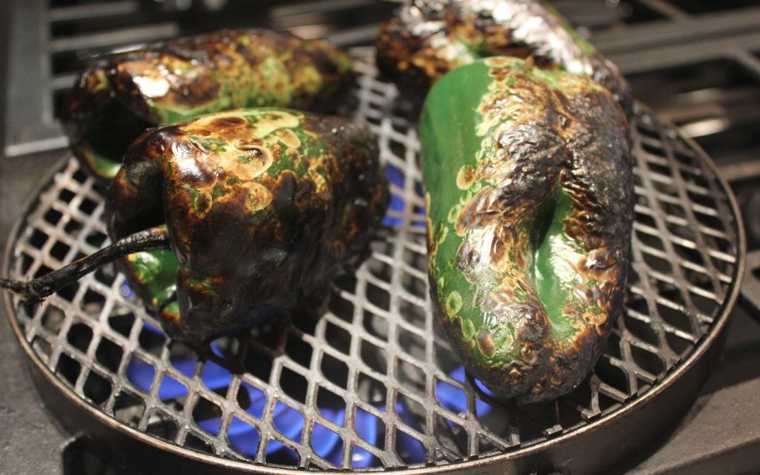 Poblano Peppers on the Jenn-Air® Pro-Style® Gas 36″ Rangetop