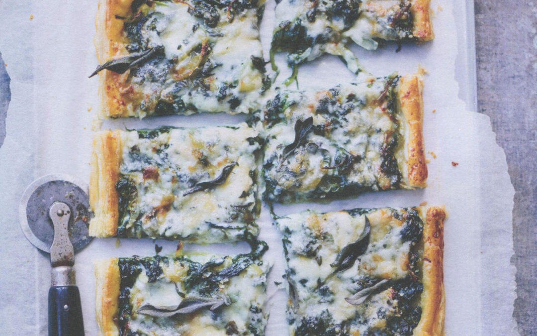Smoked Onion Tart with Spinach, Blue Cheese, and Sage